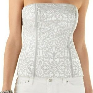 WHBM Bustier embroidered medallion strapless top
